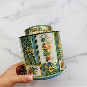 Vintage rose metallic tin can